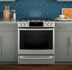 """P2S930SELSS GE 30"""" Profile Series Slide-In Front Control Dual-Fuel Range with True European Convection and Wifi Connect- Stainless Steel"""