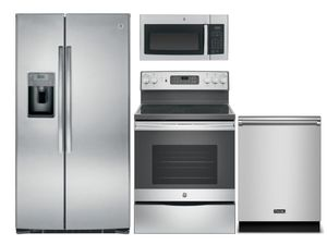 Package 10 - GE Appliance Package - 4 Piece Appliance Package with Electric Range - Includes Free Microwave - Stainless Steel