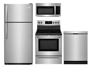 Package 15 - Frigidaire Appliance Package - 4 Piece Appliance Package with Top Mount Refrigerator and Electric Range - Stainless Steel