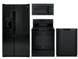 Package 25 - GE Appliance Package - 4 Piece Appliance Package with Electric Range - Black