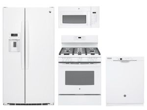 Package 26 - GE Package - 4 Piece Appliance Package with Gas Range - White