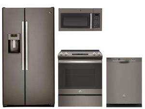 Package 38 - GE Appliance - 4 Piece Appliance Package with Electric Range - Includes Free Microwave - Slate