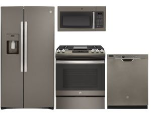 Package 39 - GE Appliance - 4 Piece Appliance Package with Gas Range - Slate