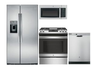 Package 5 - GE Appliance Package - 4 Piece Appliance Package with Gas Slide In Range - Includes Free Microwave - Stainless Steel
