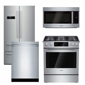 Package B2 - Bosch Appliance - 4 Piece Appliance Package - Counter Depth Refrigerator and Gas Range - Stainless Steel