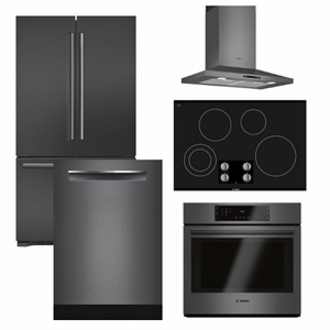 Package BBBS1 - Bosch Appliance - 5 Piece Built-In Appliance Package with Electric Cooktop - Black Stainless Steel