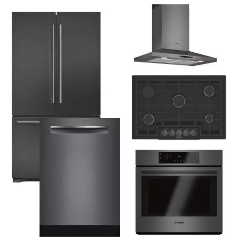 Package BBBS2 - Bosch Appliance - 5 Piece Built-In Appliance Package with Gas Cooktop - Black Stainless Steel