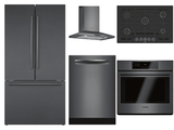 Package BBBS2 - Bosch Appliance Package - 5 Piece Built-In Appliance Package with Gas Cooktop - Black Stainless Steel