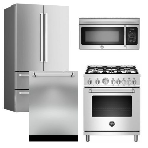 """Package BRT1 - Bertazzoni Appliance Package - 4 Piece Package with 30"""" Dual Fuel Range - Stainless Steel"""