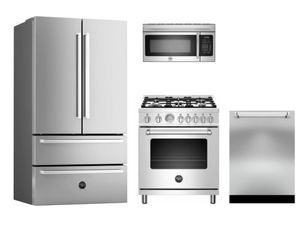 "Package BRT1 - Bertazzoni Appliance Package - 4 Piece Package with 30"" Dual Fuel Range - Stainless Steel"