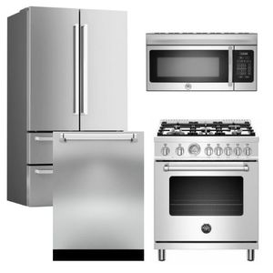"""Package BRT2 - Bertazzoni Appliance Package - 4 Piece Package with 30"""" All Gas Range - Stainless Steel"""