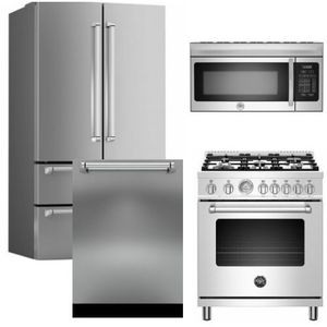 "Package BRT2 - Bertazzoni Appliance Package - 4 Piece Package with 30"" All Gas Range - Stainless Steel"