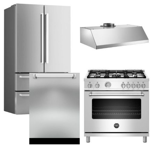 """Package BRT3 - Bertazzoni Appliance Package - 4 Piece Package with 36"""" Dual Fuel Range - Stainless Steel"""