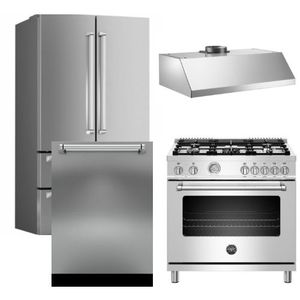 "Package BRT3 - Bertazzoni Appliance Package - 4 Piece Package with 36"" Dual Fuel Range - Stainless Steel"