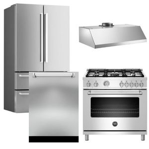 """Package BRT4 - Bertazzoni Appliance Package - 4 Piece Package with 36"""" All Gas Range - Stainless Steel"""