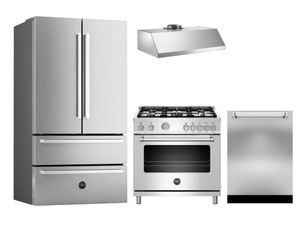 "Package BRT4 - Bertazzoni Appliance Package - 4 Piece Package with 36"" All Gas Range - Stainless Steel"