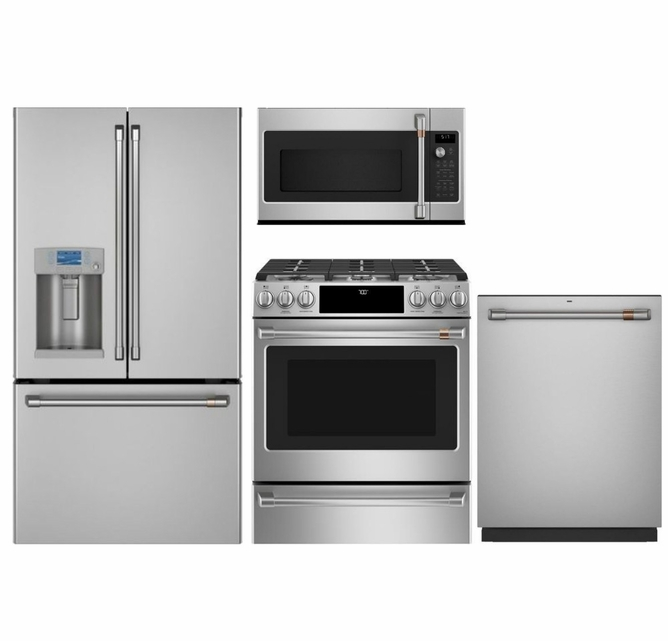 Package Cafe1 Cafe Appliances 4 Piece Appliance Package With Gas Range Stainless Steel