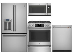 Package Cafe1 - Cafe Appliances - 4 Piece Appliance Package with Gas Range - Includes Free Microwave - Stainless Steel