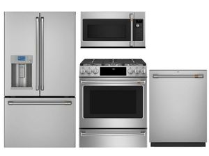 Package Cafe1 - Cafe Appliances - 4 Piece Appliance Package with Gas Range - Stainless Steel