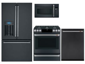 Package CAFEMD1 - Cafe Appliance Package - 4 Piece Appliance Package with Gas Range - Matte Black with Brushed Stainless Hardware