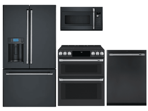 Package CAFEMD2 - Cafe Appliance Package - 4 Piece Appliance Package with Electric Range - Matte Black with Brushed Stainless Hardware