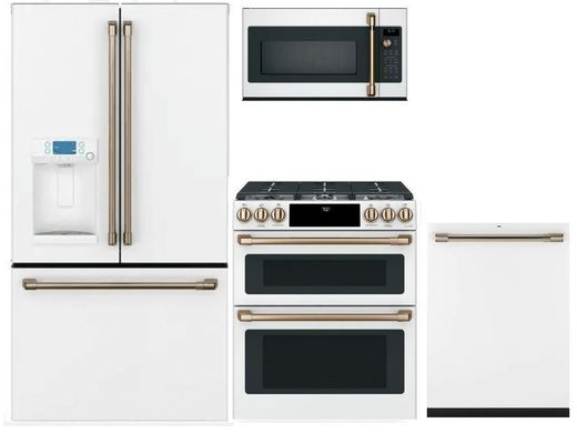 Package CAFEMW1 - Cafe Appliance Package - 4 Piece Appliance Package with Gas Range - Matte White with Brushed Bronze Hardware
