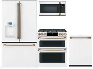 Package CAFEMW2 - Cafe Appliance Package - 4 Piece Appliance Package with Electric Range - Matte White with Brushed Bronze Hardware