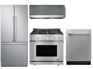 "Package D2 - Dacor Appliance Kitchen Package with 36"" All Gas Range - Stainless Steel"