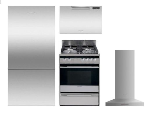 """Package FPAY1 - Fisher & Paykel Appliance Package - 4 Piece Appliance Package with 24"""" Gas Range - Stainless Steel"""