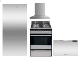 "Package FPAY1 - Fisher & Paykel Appliance Package - 4 Piece Appliance Package with 24"" Gas Range - Stainless Steel"