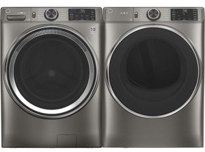 Package GE650SNG - GE Appliance Laundry Package - Front Load Washer with Gas Dryer - Satin Nickel