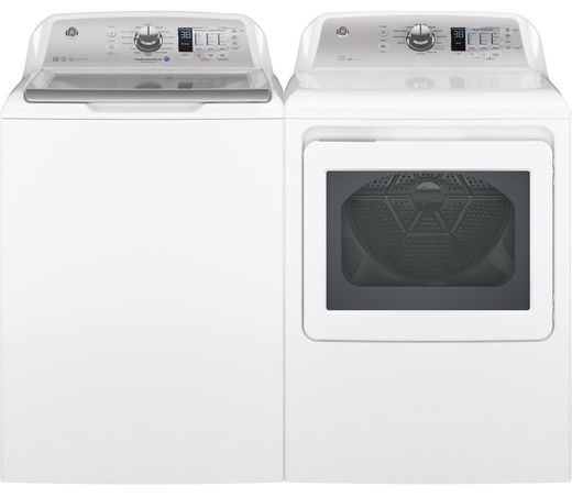 Package GE68WG - GE Appliance Laundry Package - Top Load Washer with Gas Dryer - White