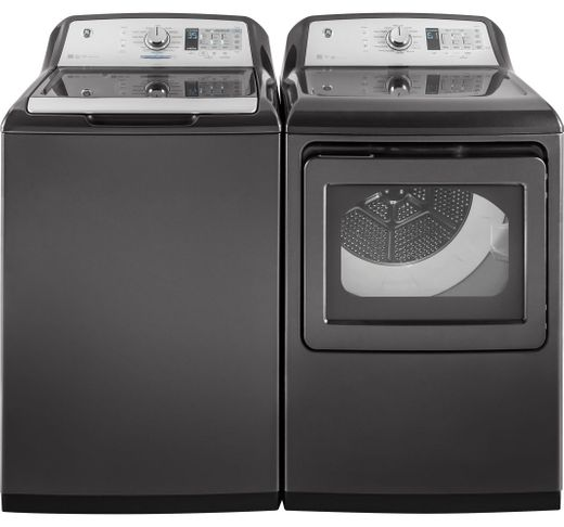 Package GE75DGG - GE Appliance Laundry Package - Top Load Washer with Gas Dryer - Gray