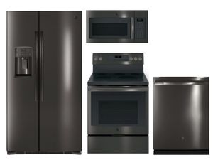 Package GEBLTS1 - GE Appliance Package - 4 Piece Appliance Package with Electric Range - Includes Free Microwave - Black Stainless Steel