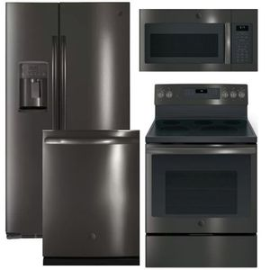 Package GEBLTS1 - GE Appliance Package - 4 Piece Appliance Package with Electric Range - Include Free Microwave - Black Stainless Steel