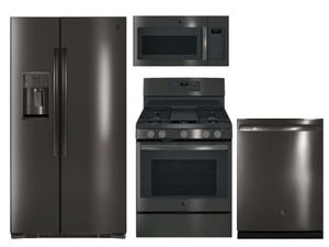 Package GEBLTS2 - GE Appliance Package - 4 Piece Appliance Package with Gas Range - Black Stainless Steel