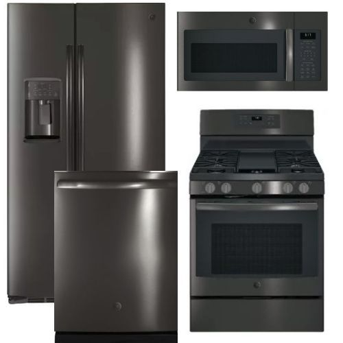 Package GEBLTS2 - GE Appliance Package - 4 Piece Appliance Package with Gas Range - Include Free Microwave - Black Stainless Steel