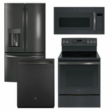 Package GEBS1 - GE Appliance Package - 4 Piece Appliance Package with Electric Range - Includes Free Microwave - Black Slate