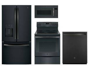 Package GEBS1 - GE Appliance Package - 4 Piece Appliance Package with Electric Range - Black Slate