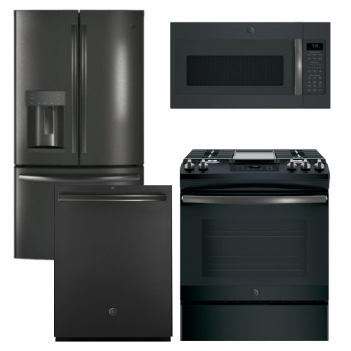 Package GEBS4 - GE Appliance Package - 4 Piece Appliance Package with Slide In Gas Range - Includes Free Microwave - Black Slate