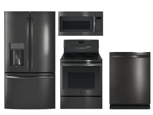 Package GEPBTS1 - GE Profile Appliance Package - 4 Piece Appliance Package with Electric Range - Includes Free Microwave - Black Stainless