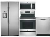 Package GEFS1 - GE Appliance 4 Piece Appliance Package with Electric Range - Includes Free Microwave - Anti-Fingerprint Stainless Steel