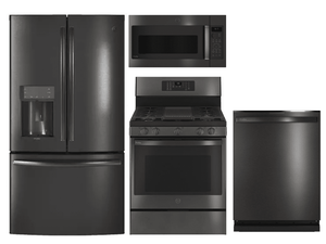 Package GEPBTS2 - GE Profile Appliance Package - 4 Piece Appliance Package with Gas Range - Includes Free Microwave - Black Stainless