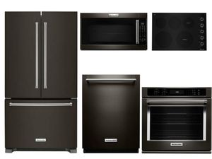 Package KB3 - KitchenAid Appliance - 5 Piece Built-In Appliance Package with Electric Cooktop - Black Stainless Steel
