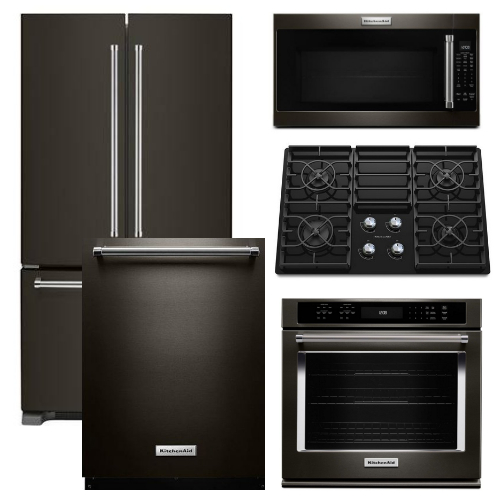 Package KB4 - KitchenAid Appliance - 5 Piece Built-In Appliance Package with Gas Cooktop - Black Stainless Steel