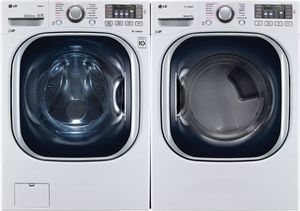 Package LG43WE - LG Washer and Dryer Package - Front Load Washer and Electric Dryer - White