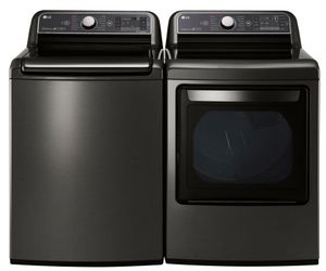 Package LG76KE - LG Washer and Dryer Package - Top Load Washer and Electric Dryer - Black Stainless Steel
