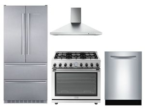Package LIEB1 - Liebherr Preferred Package - 4 Piece Appliance Package - Liebherr Refrigerator, Superiore Range, Faber Hood, Bosch Dishwasher - Stainless Steel