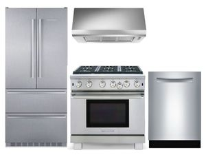 Package LIEB2 - Liebherr Preferred Package - 4 Piece Appliiance Package - Liebherr Refrigerator, American Range, Faber Hood, Bosch Dishwasher - Stainless Steel