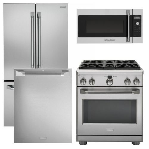 "Package MOG30 - Monogram Appliance Package - 4 Piece Appliance Package with 30"" Gas Range - Stainless Steel"